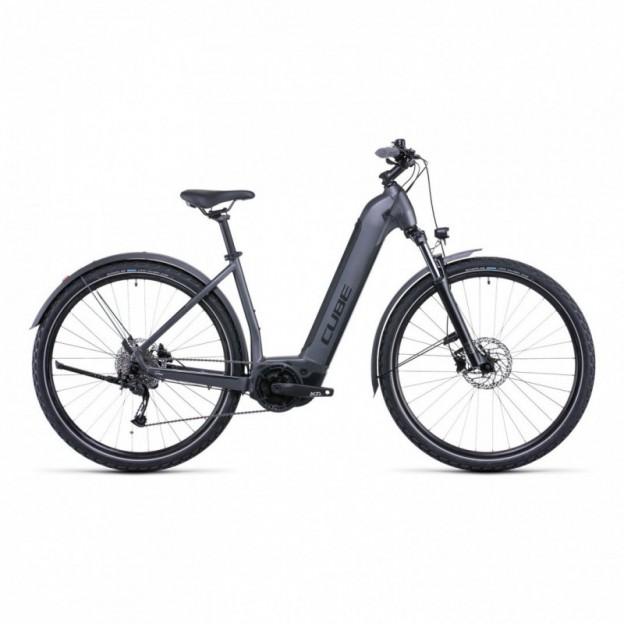 Vélo Electrique Cube Touring Hybrid One 500 Trapèze Gris/Bleu 2022