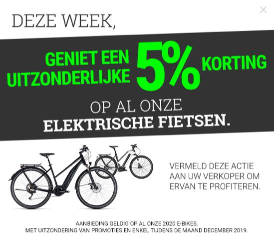 Geniet een uitzonderlijke 5% korting op alle onze elektriesche fietsen