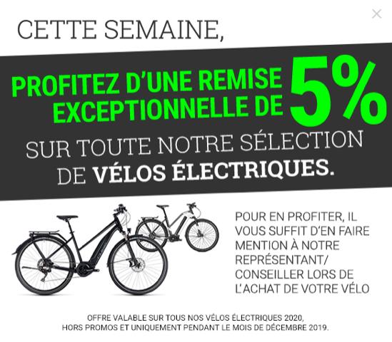 Remise de 5% à l'achat d'un vélo